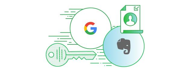 Google 帐户让你快速登入 Evernote 国际版